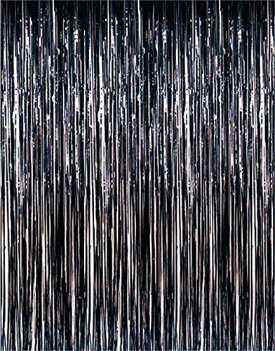 Super Z Outlet Metallic Tinsel Foil Fringe Party Curtain, 3.2 ft x 9.8 ft (Black) -