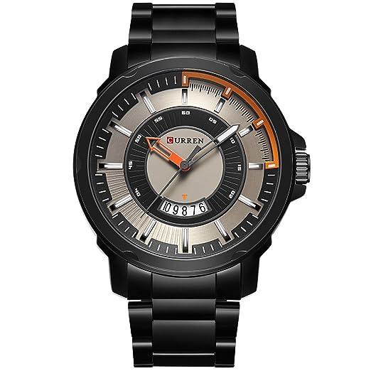 Curren Lujo Sport reloj de cuarzo Moda Casual Mejor marca militar cuarzo pulsera atch reloj de acero negro Band: Amazon.es: Relojes