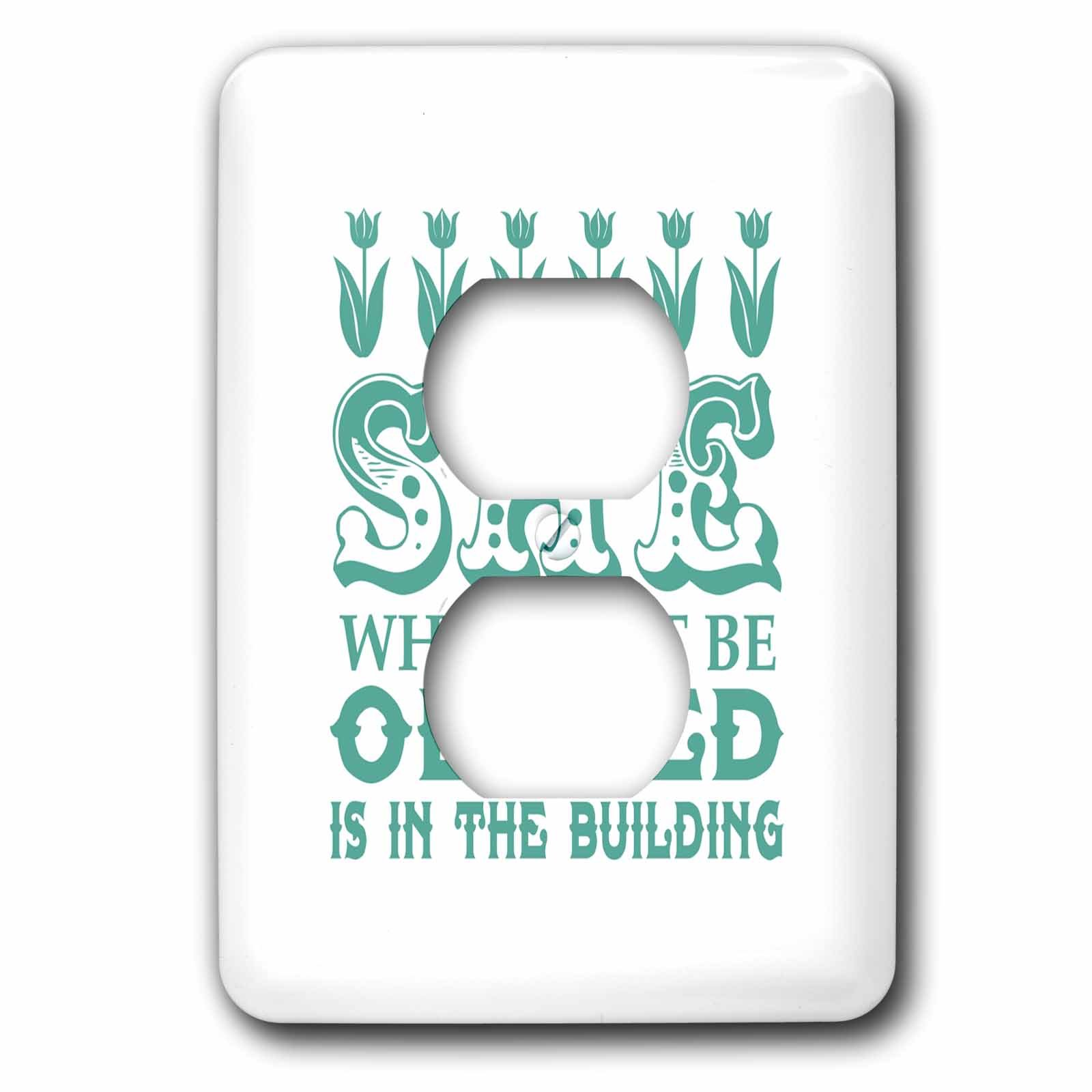 3dRose Russ Billington Designs - She Who Must Be Obeyed- Strong Woman Design in Teal and White - Light Switch Covers - 2 plug outlet cover (lsp_262290_6)