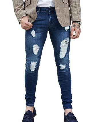 Herren Ripped Jeans Hose Stretch Leichte Biker Jeanshose Slim Fit  Dunkelblau S 28a91fd763