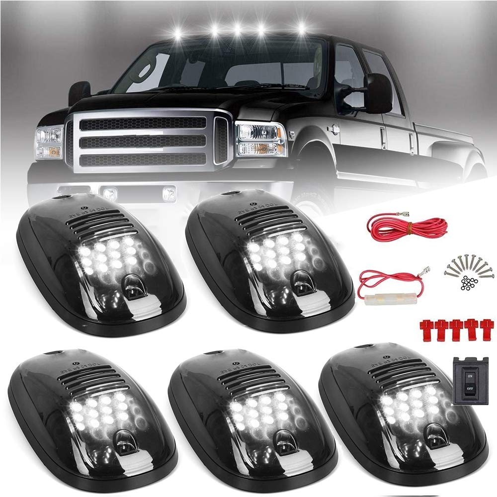 5pcs cab marker lights smoke cover 12 white led roof top clearance running  lights w/wiring harness pack for 2003-2017 dodge ram 1500 2500 3500 4500  5500