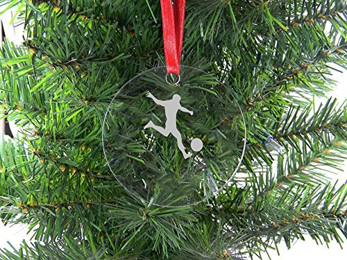 Personalized Custom Soccer Player Clear Acrylic Hanging Christmas Tree Ornament with Red Ribbon