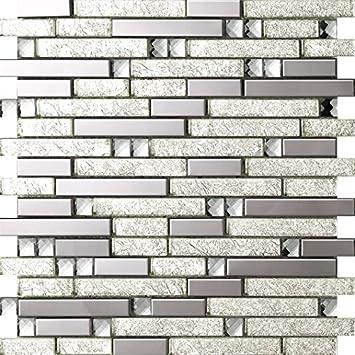 Silber Farbe Spiegelglas Mix Metall Edelstahl Mosaik Fliesen Für Wand/Boden,  30x30cm