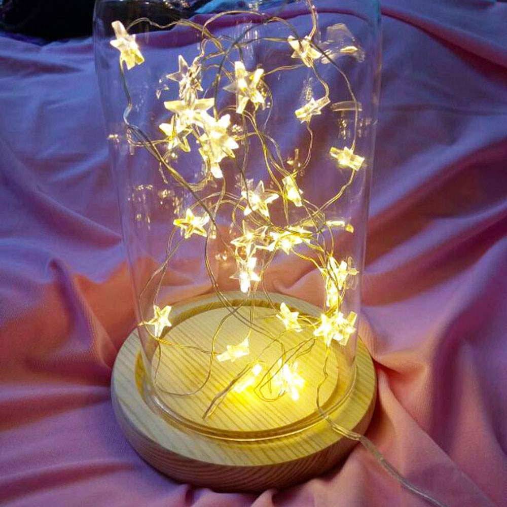 Tuscom Button Battery Pentagram Star Light Cozy String Fairy Lights for Xmas Window Bathroom Wedding Festival Holiday (3 Colors) (Yellow)