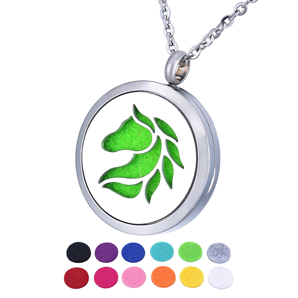 HOUSWEETY Aromatherapy Essential Oil Diffuser Necklace Locket Pendant with 12 Refill Pads HOUSWEETYB123662