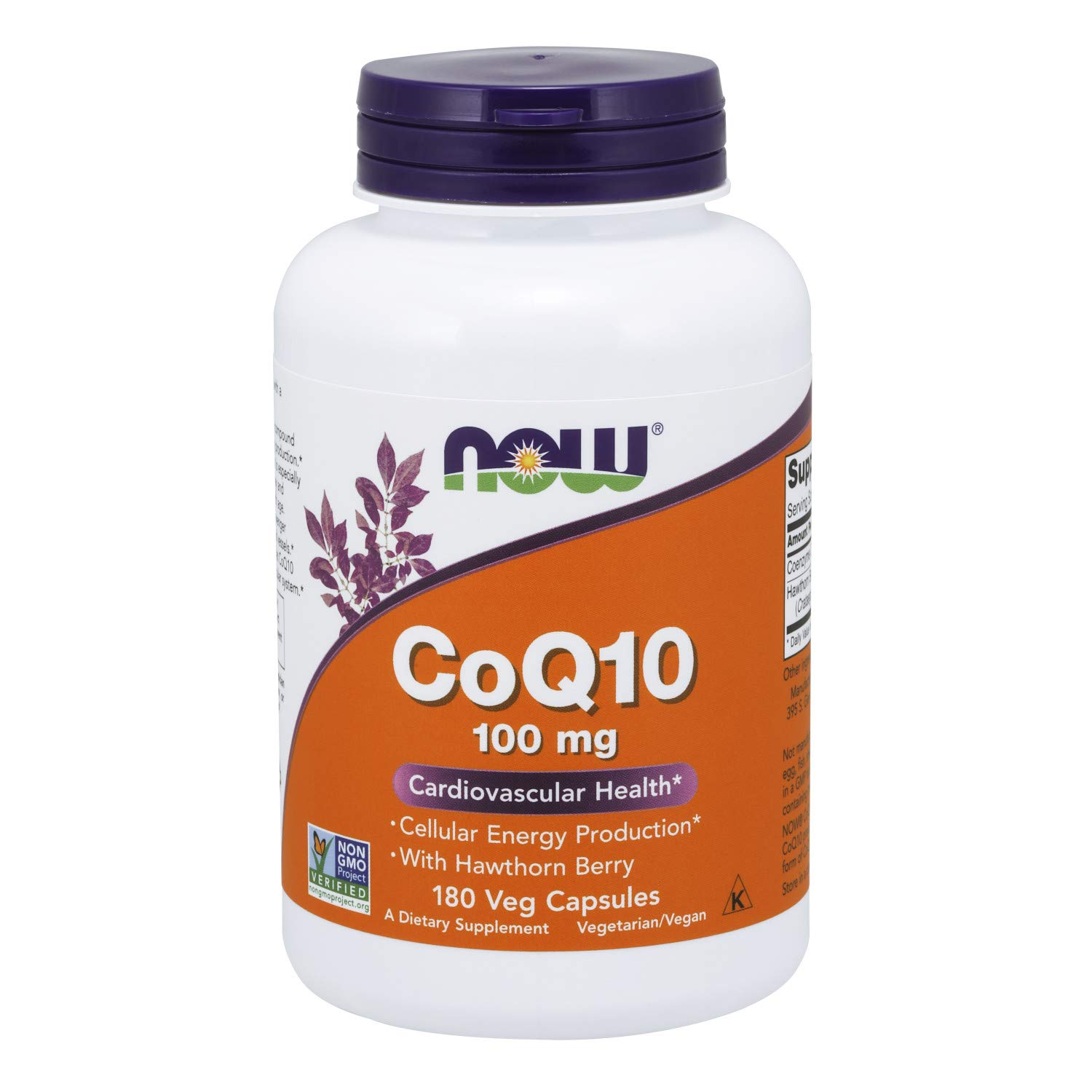 Now Supplements, CoQ10 100 mg with Hawthorn Berry, Pharmaceutical Grade, All-Trans Form Produced by Fermentation, 180 Veg Capsules by NOW Foods