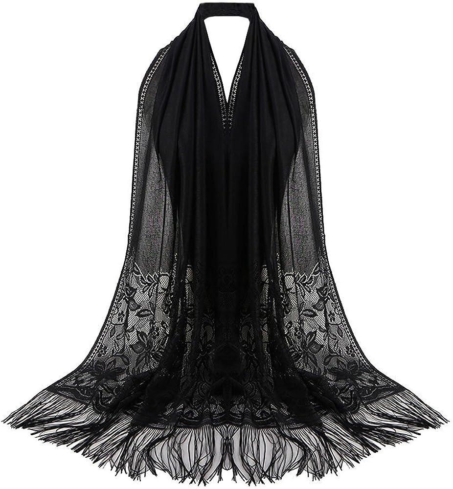 Stylish Women Lace Flower Muslim Hijab Shawl Long Scarf Scarves Stole Wrap