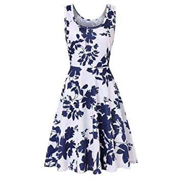 a0df8d79f5 Image Unavailable. Image not available for. Color  lotus.flower 2018 Women  Sleeveless Printing Summer Beach A Line Casual Dress ...