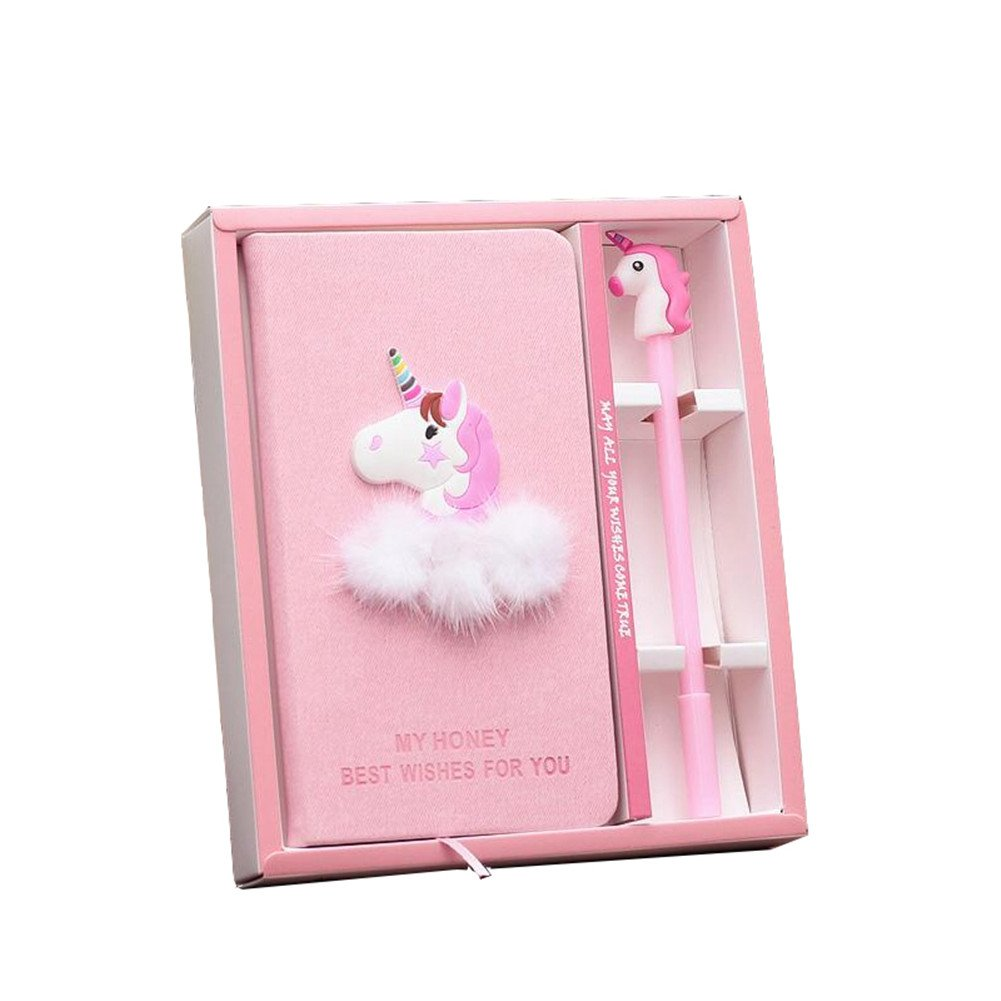 Toshine Unicorn Journal Gel Pen Set Super Cute Notebook with Pen, Handmade Diary Birthday Gift Box Sketchbook Diary Notepad Set for Girls and Kids (Unicorn No.2)