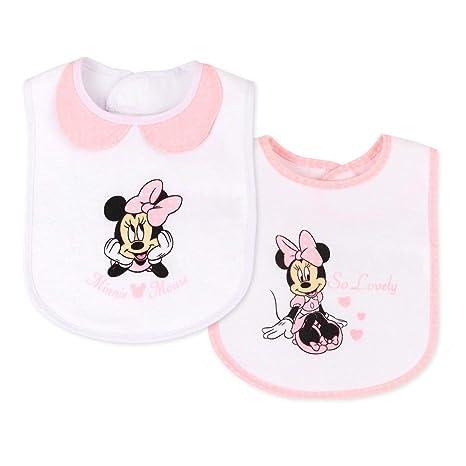 Juego de 2 baberos para niña, diseño de Minnie Mouse: Amazon ...