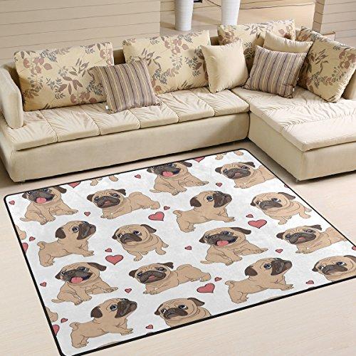 ALAZA Cartoon Love Heart Pug Puppy Dog Area Rug Rugs for Living Room Bedroom 5'3 x 4'