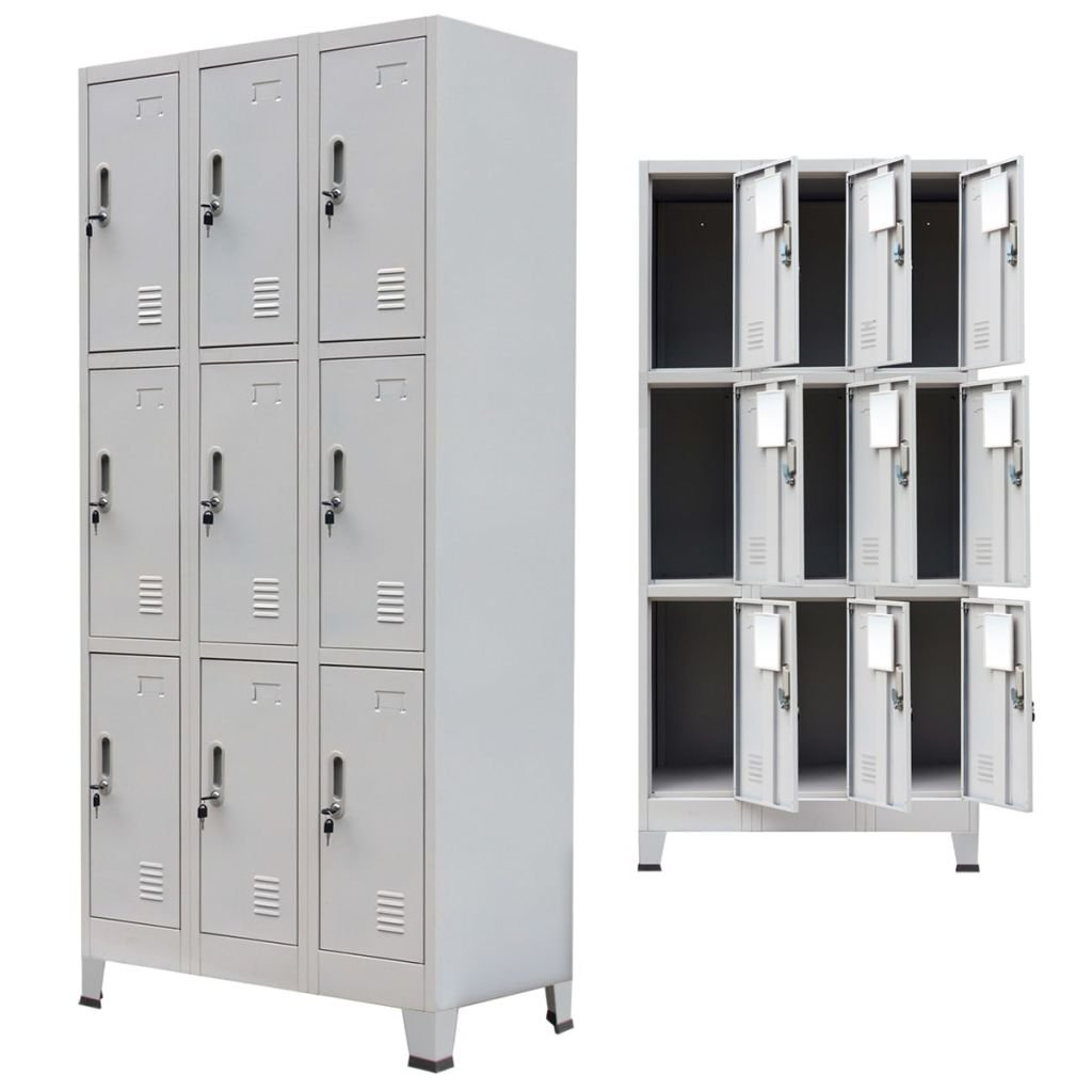 Festnight Tall Office Steel Locker Cabinet with 9 Compartments Gray 35.4'' x 17.7'' x 70.9''