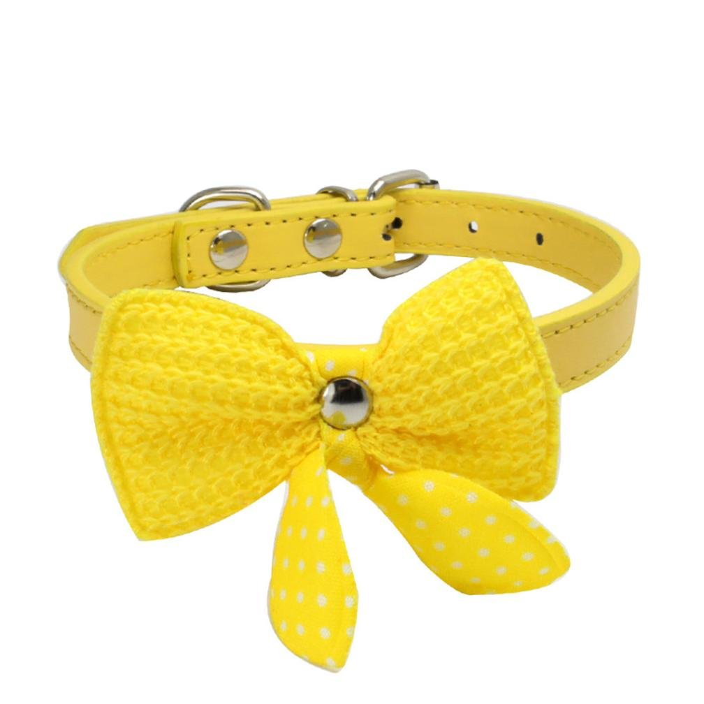 Howstar Pet Collars, Puppy Cat Collar Classic Knitted Dog Collar With Bowknot (Yellow, S)