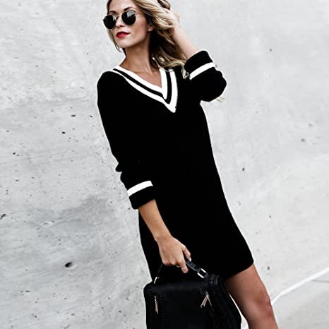 Limsea Womens V-Neck Loose Knitted Long Sleeve Pullover Sweater Ladies Top  Blouse at Amazon Women s Clothing store  6cf5fa8ad