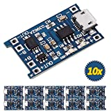 Icstation TP4056 Micro USB 5V 1A 18650 Lithium Battery Charger Board, with Overcharge Over-Discharge Over-Current Protection (Pack of 10)