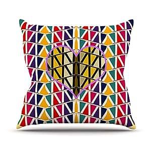 """KESS inhouse fm1029aop0318x 45,7""""famenxt Corazón en estampado abstracto geométrico Cojín Manta de exterior, multicolor"""