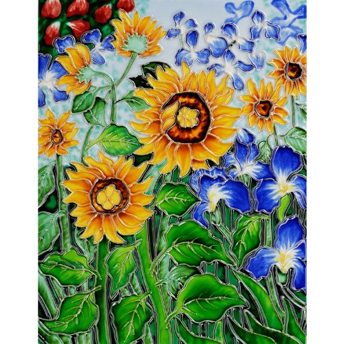 (overstockArt Vincent Van Gogh Sunflowers and Irises 11-Inch by 14-Inch Trivet/Wall Accent Tile, Felt Back)