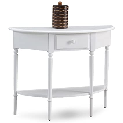 Leick 20036 WT Coastal Demilune Hall Stand/Sofa Table With Shelf, Orchid  White