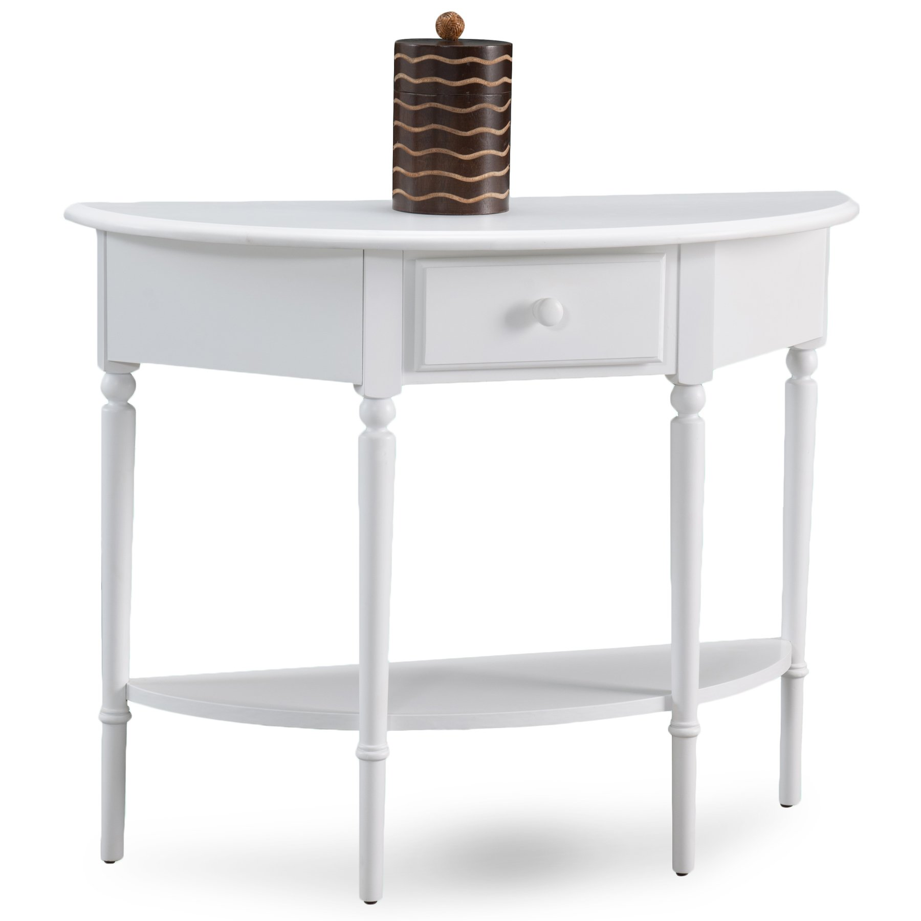 Leick 20036-WT Coastal Demilune Hall Stand/Sofa Table with Shelf, Orchid White