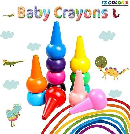 Merit Ocean Crayones de Colores, 12 Colores, 3D, no Tóxicos ...