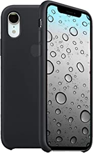 Liquid Silicone Case Compatible for iPhone XR, Simple Style Full Body Protection Compatible with iPhone XR 6.1 Inch - Black