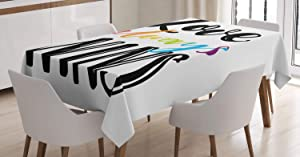 Ambesonne Pride Tablecloth, Love Always Wins Romantic Saying Slogan with Rainbow Colored and Hand Drawn Letters, Rectangular Table Cover for Dining Room Kitchen Decor, 60