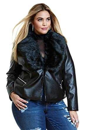 Womens Plus Size Faux Leather Motorcycle Biker Evana Jacket with Faux Fur Collar