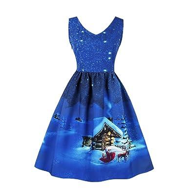 50er Retro Weihnachten Kleid Damen Vintage Polka Dots Kleid ...