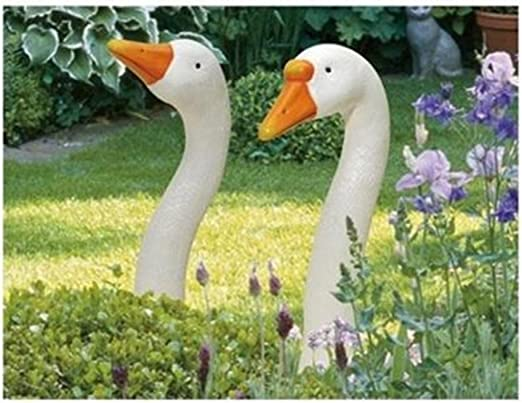Estatua de jardín de SSITG con forma de cuello de ganso, figuras decorativas de cerámica, paquete de 2 unidades: Amazon.es: Jardín