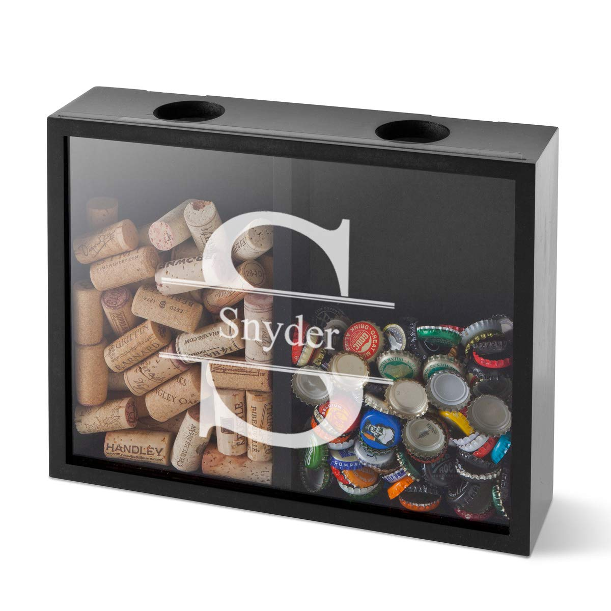 Personalized Double Sided Beer Cap Wine Cork Display Shadow Box - Stamped