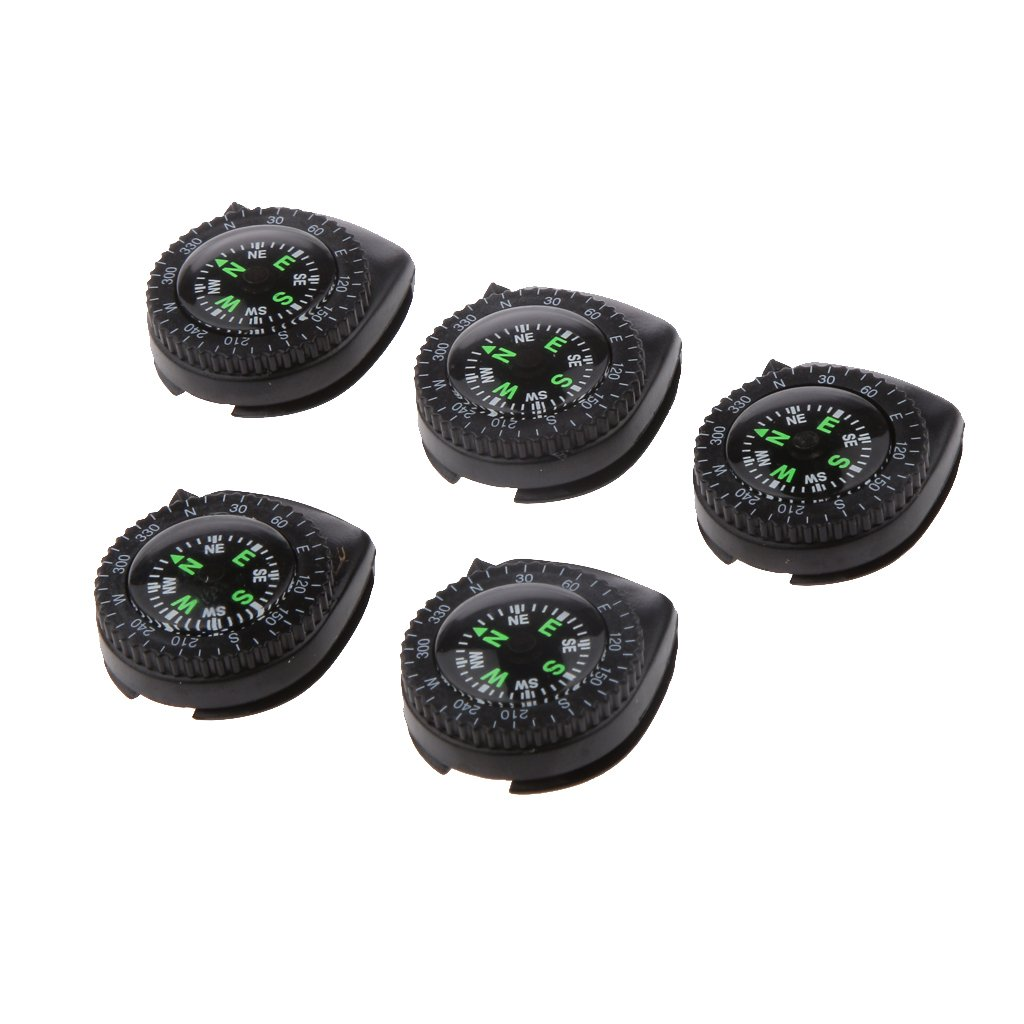 5pcs Outdoor Hiking Camping Removable Mini Pocket Watchband Compass
