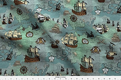 Map Fabric - Pirate Ships Map Blue Small Repeat - Designed By Teja_Jamilla - Fabric Printed By Spoonflower On Basic Cotton Ultra Fabric By The (Map Fabric Chart)