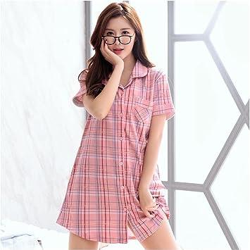 Pijamas de Mujeres Verano Algodón Verano Sección Delgada Sexy Comprobar el Vestido de Algodón Falda de