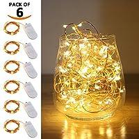 Luces de cadena LED de LIIDA, luces de luna de LED Micro luces en alambre de cobre para bricolaje de centro de boda, decoración de mesa, fiesta (6, 9.8FT)
