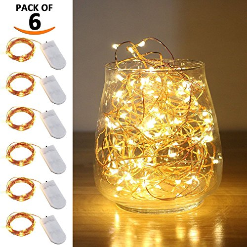 LIIDA LED String Lights, LED Moon Lights Micro Lights On Copper Wire for DIY Wedding Centerpiece, Table Decoration, Party (6, 9.8FT)
