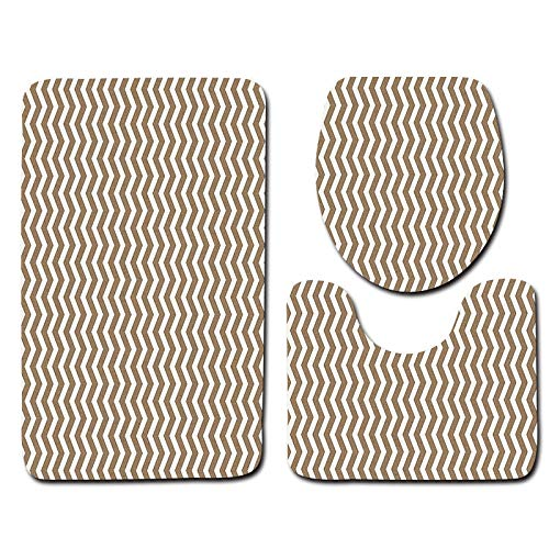 (GMYANMTD Simple Stripe Bathroom Toilet Mat 3 Pieces/Set Ultra-Soft Flannel Non-Slip Bath Rugs and Toilet Cover Foot Mat)
