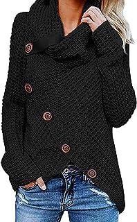 SUMTTER Maglioni Donna Invernali Maglione Manica Lunga Pullover a Collo Alto Camicetta Taglie Forti con Bottoni