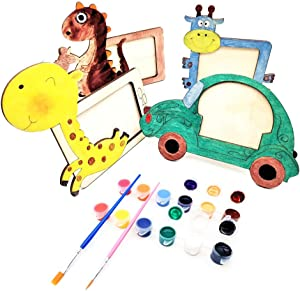 DEUXPER DIY Picture Frame Kit for Kids, Make Your Own Arts & Craft Paint Gifts for Boys & Girls, 4 Cute Wooen Photo Frames with Painting Tools