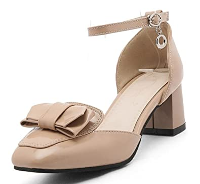 72b2896e4fce Sfnld Women s Sweet Buckle Square Toe Low Cut Ankle Strap Medium Block Heels  Sandals Apricot 4