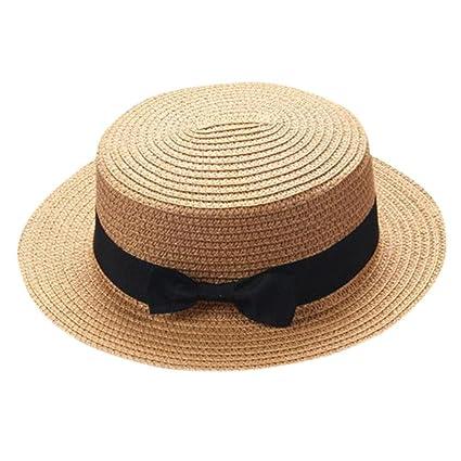 Sombrero de paja para niños con lazo para el padre madre bebé ... 2fbff0727be