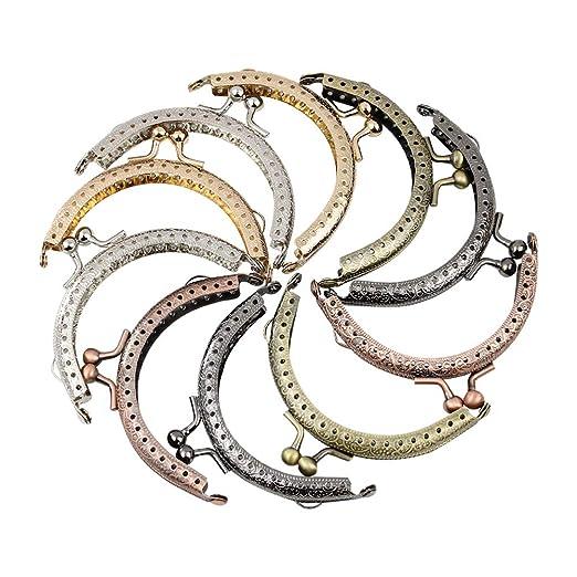 GuoFa Monedero de metal, cierre de broche de beso, 10 piezas 5 colores mezclado retro marco, monedero cierre, bricolaje para hacer bolsos de mujer