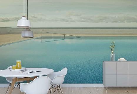 Acqua della piscina cornice muro di piastrelle carta da parati in