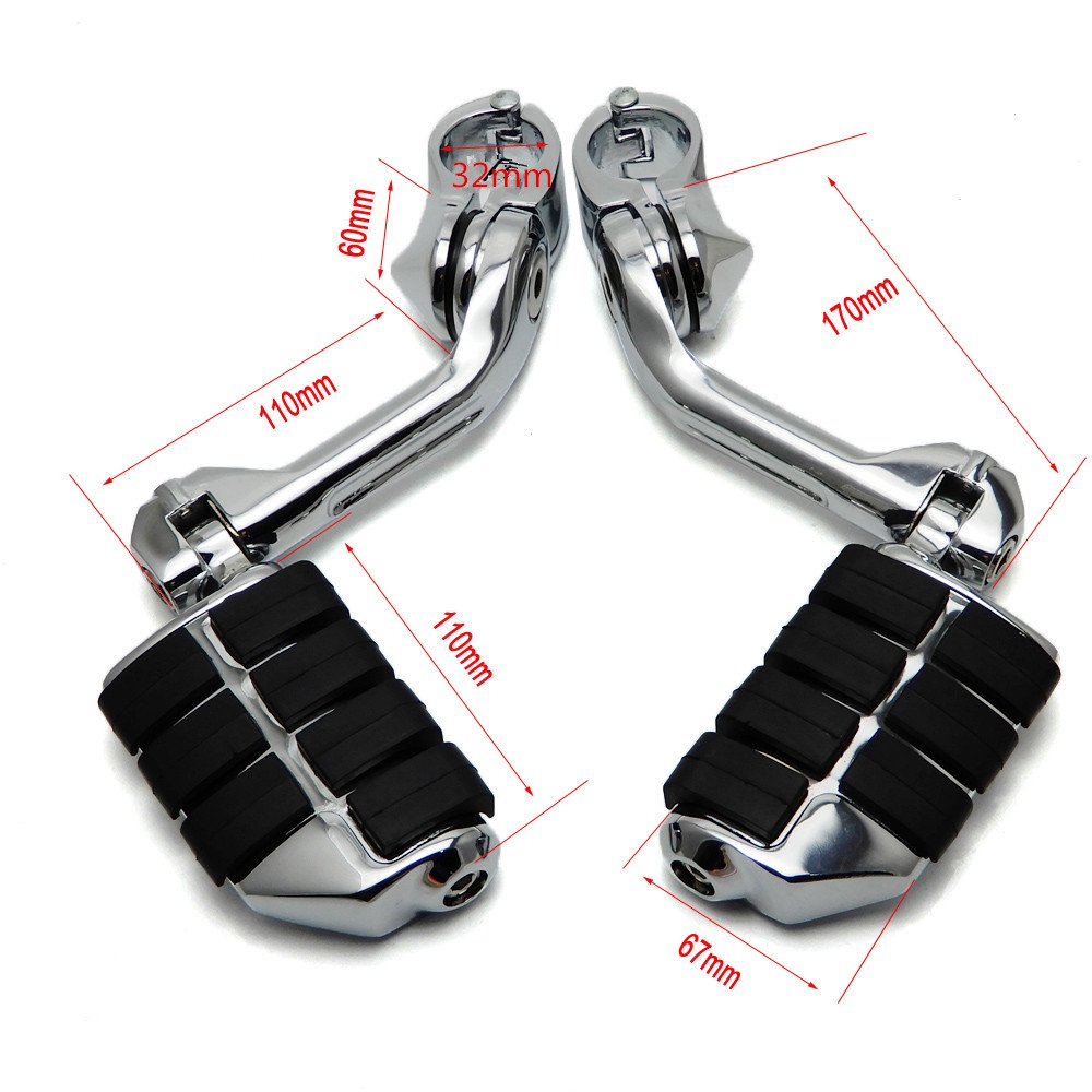 Motorcycle Highway Pegs KEMIMOTO Long Adjustable for 1.25'' Engine Guard Sportster Softail Electra Glide Road King Street Glide by KEMIMOTO (Image #2)