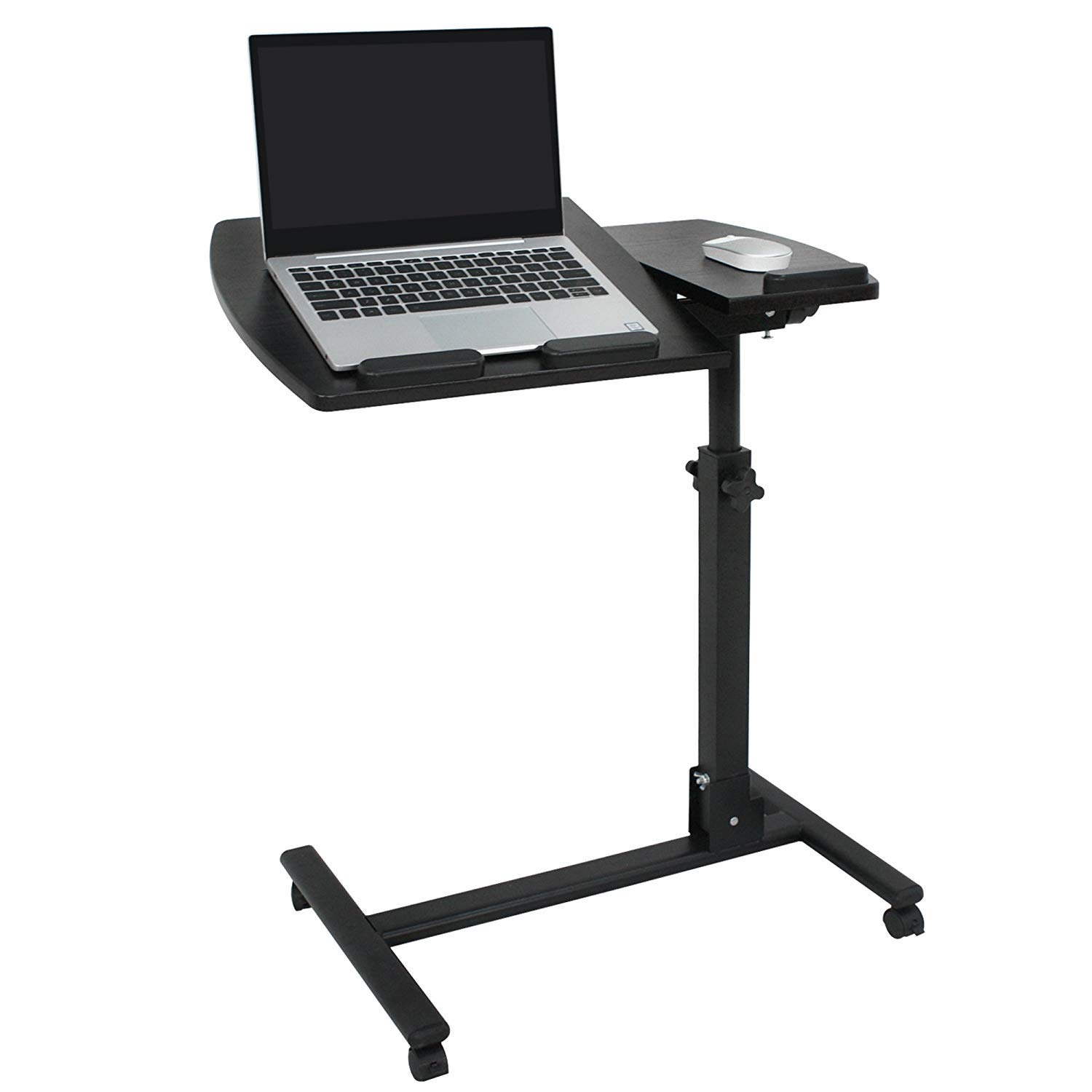 F2C Portable Adjustable Height 360° Swivel Laptop Desk PC Computer Mobile Notebook Laptop Stand Rolling Table Desk Cart Tiltable with Wheels Casters& Mouse Pad Table