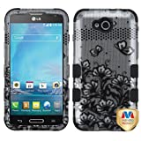 Asmyna TUFF Hybrid Phone Protector Cover for LG D415 (Optimus L90) - Retail Packaging - Black Lace Flowers/Silver)/Black