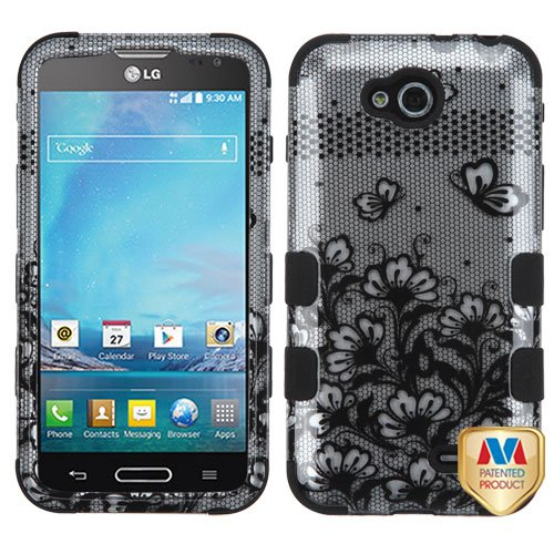 Asmyna TUFF Hybrid Phone Protector Cover for LG D415 (Optimus L90) - Retail Packaging - Black Lace - Lg Case L90 For A