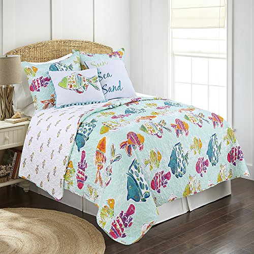 James Home Marlin Fish 2pc Reversible Microfiber Quilt Set Twin Multi (Twin Tropical Quilt Set)