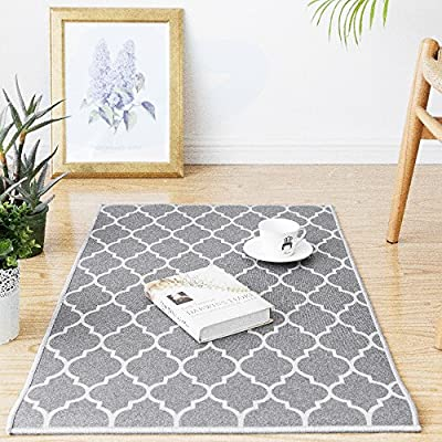 """jinchan Moroccan Tile Trellis Area Rug Door Mat Floorcover Indoor Outdoor Carpet for Living Room Grey 2'x 3'3"""" - Premium Quality: Made of 100% polypropylene. Nice and tight weave makes the rug soft but firm. Great for indoor/outdoor use. Size:2'x 3'3"""", Color: Soft Grey on Off White. Trellis design. Stay Put: Great coordination with living room, dining room, hall way, nursery or wherever you need it. Non-slip backing helps the rug stays in place well. Easy Cleaning: Dust and dirt on surface can be removed easily. Please try to hand wash or wipe clean with a cloth. - living-room-soft-furnishings, living-room, area-rugs - 61%2B1Kl 9G8L. SS400  -"""
