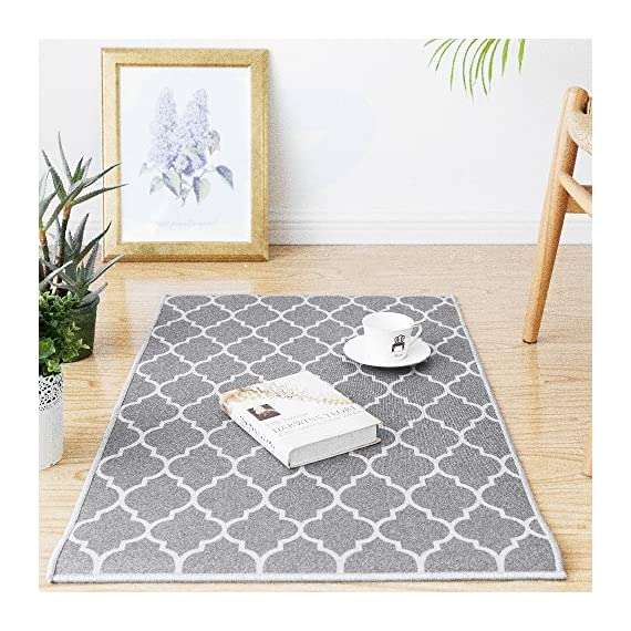 "jinchan Door Mat Area Rug Moroccan Tile Low Pile Trellis Floorcover Indoor Carpet for Living Room Soft Grey 2'x 3'3"" - Premium Quality: Made of 100% polypropylene. Nice and tight weave makes the rug soft but firm. Great for indoor/outdoor use. Size:2'x 3'3"", Color: Soft Grey on Off White. Trellis design. Stay Put: Great coordination with living room, dining room, hall way, nursery or wherever you need it. Non-slip backing helps the rug stays in place well. Easy Cleaning: Dust and dirt on surface can be removed easily. Please try to hand wash or wipe clean with a cloth. - living-room-soft-furnishings, living-room, area-rugs - 61%2B1Kl 9G8L. SS570  -"