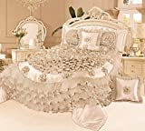 Tache 6 Piece Frosted Fields Faux Satin Luxury Comforter Set, Queen